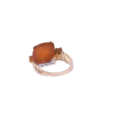 Diamond & Orange Chalcedony Ring