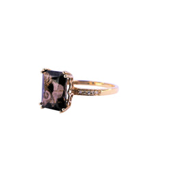 Yellow Gold Diamond & Smoky Quartz Ring
