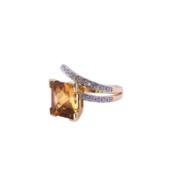 Square Citrine Diamond Ring