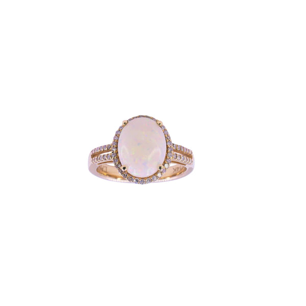 Yellow Gold Diamond & Opal Ring