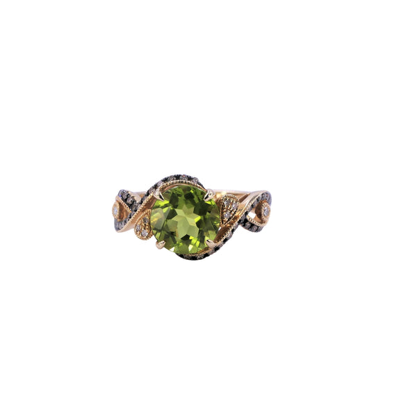 Peridot & Brown Diamond Ring