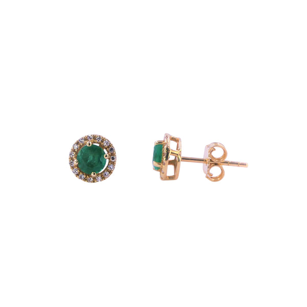 Yellow Gold Diamond & Emerald Earring