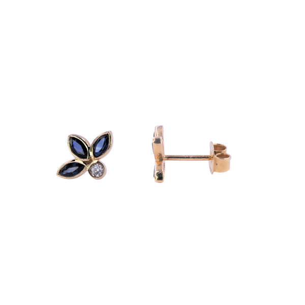 Yellow Gold Diamond & Sapphire Earrings