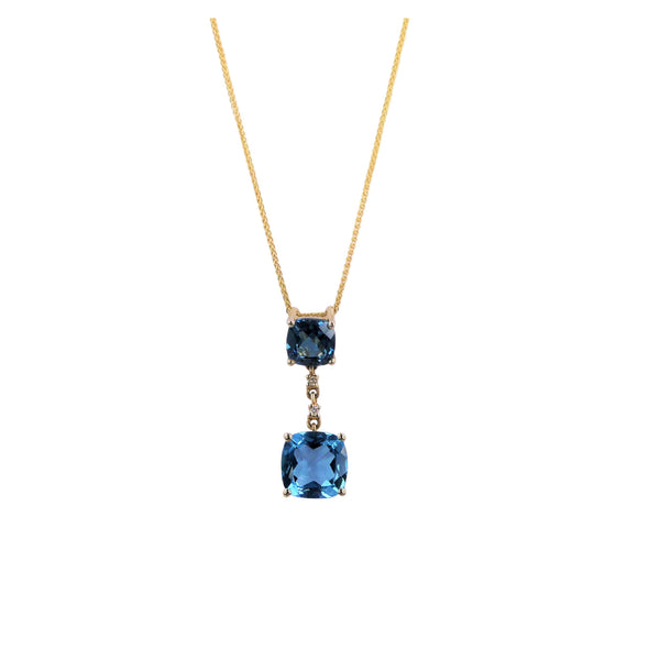 Yellow Gold Diamond Swiss Blue Topaz Pendant