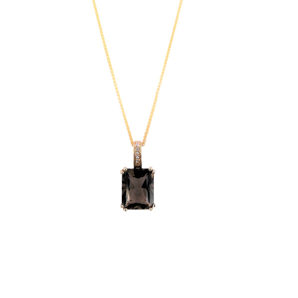 Diamond & Smoky Quartz Pendant