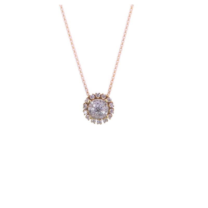 Yellow Gold Round Flower Diamond Pendant