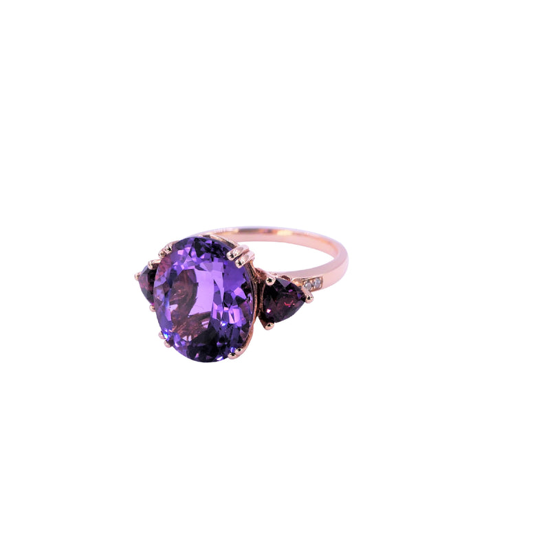 Diamond Rhodolite & Amethyst Ring