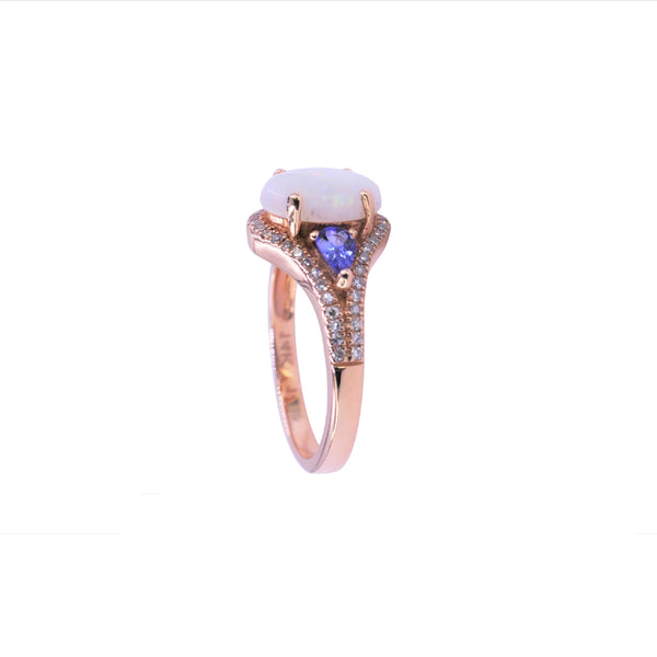 Opal, Tanzanite & Diamond Ring