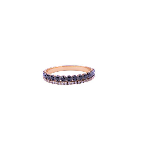 Two Rows Diamond & Treated Black Diamond Band