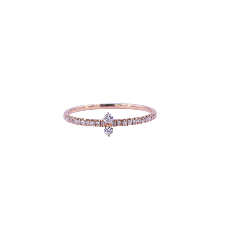 Rose Gold Two Diamonds Ring
