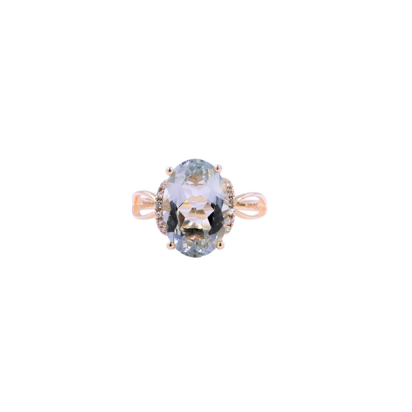 Diamond & Green Amethyst Ring