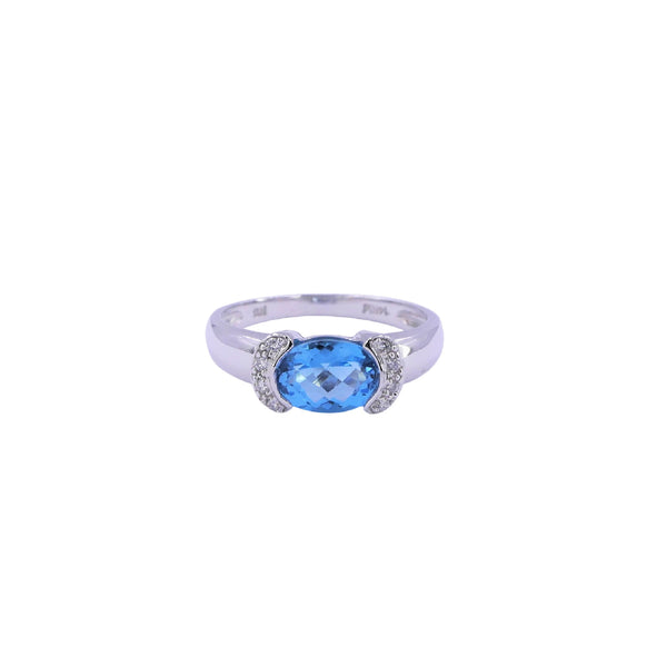 White Gold Swiss Blue Topaz & Diamonds Ring