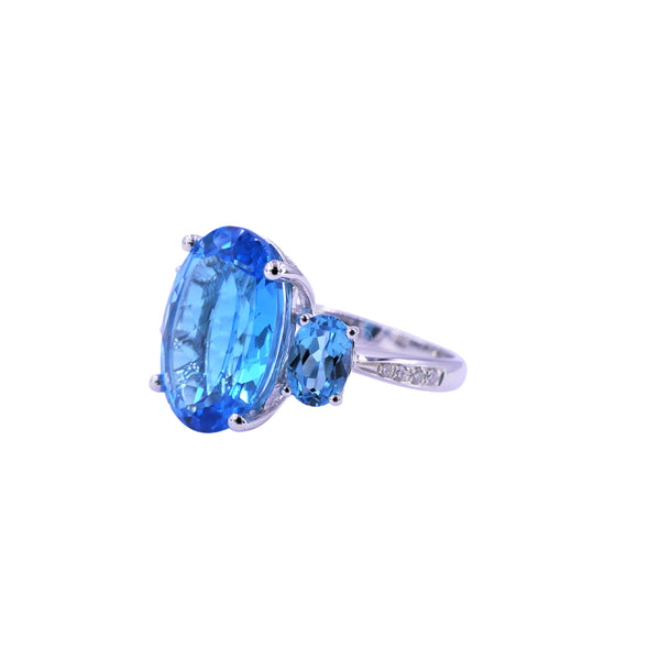 Tree-Stone Swiss Blue Topaz & Diamonds Ring