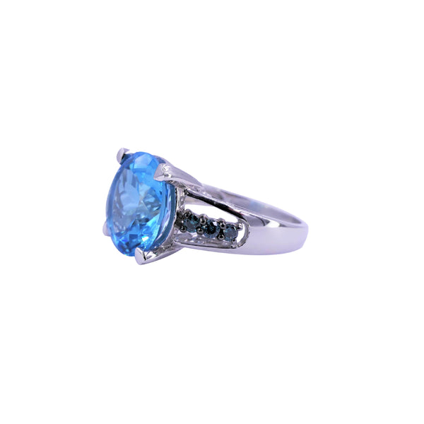 Blue Diamond & Blue Topaz Ring