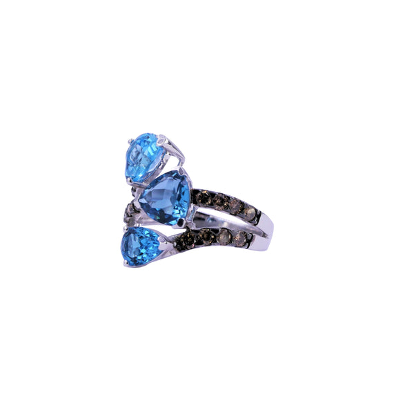 Three-Stone Swiss Blue Topaz & Brown Diamonds Ring