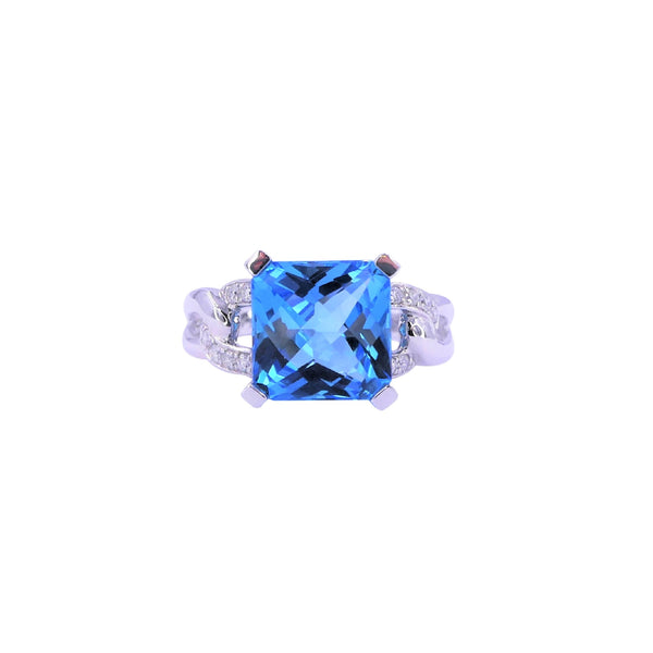 Square Swiss Blue Topaz & Diamonds Ring