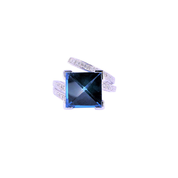 Square Blue Topaz & Diamonds Ring