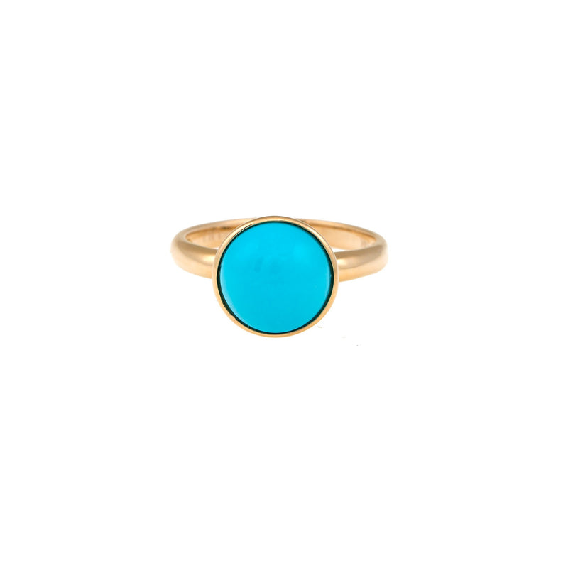 Yellow Gold Round Turquoise Ring