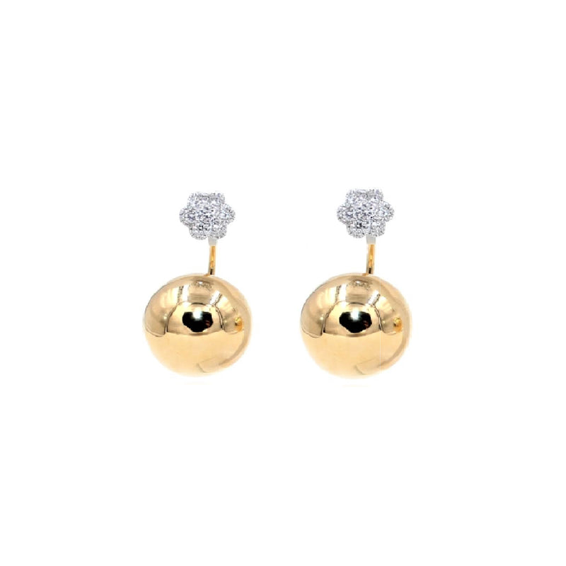 Geometric Diamond Golden Globe Sphere Earrings