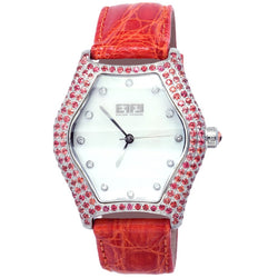 Effy Broadway Diamonds & Orange Sapphire Mother-of-Pearl Dial Ladies Watch