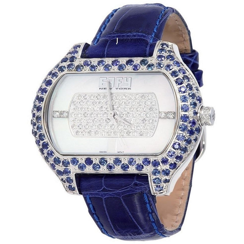 Effy So-Ho 0.78 ct Diamonds & 4.05 ct Sapphire Mother-of-Pearl Dial Unisex Watch