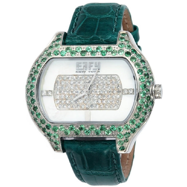 Effy So-Ho 0.78 ct Diamond & 4.05 ct Tsavorite Mother-of-Pearl Dial Unisex Watch
