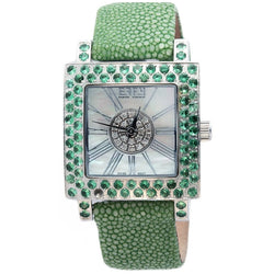 Effy Time Square 0.17 ct Diamond & 3.04 ct Tsavorite Mother-of-Pearl Dial Unisex Watch