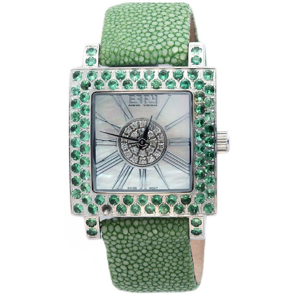 Effy Time Square Diamond & Tsavorite Mother-of-Pearl Dial Unisex Watch