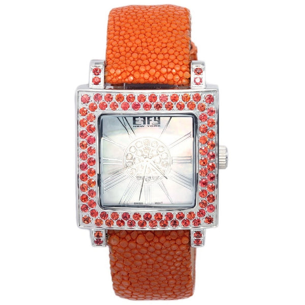 Effy Time Square 0.17 ct Diamond & 3.36 ct Orange Sapphire Mother-of-Pearl Dial Unisex Watch