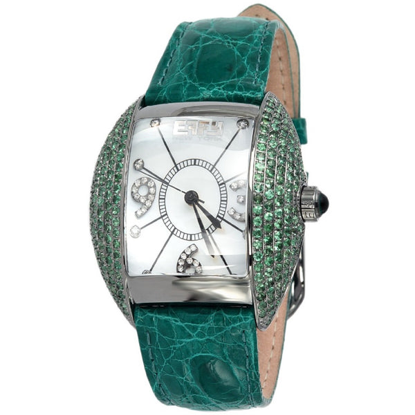 Effy Millennium 0.20 ct Diamond and 4.00 ct Tsavorite Mother-of-Pearl Dial Unisex Watch