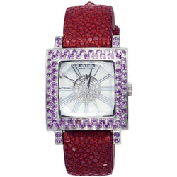 Effy Time Square  0.17 ct Diamond 3.10 ct Amethyst Mother-of-Pearl Dial Unisex Watch
