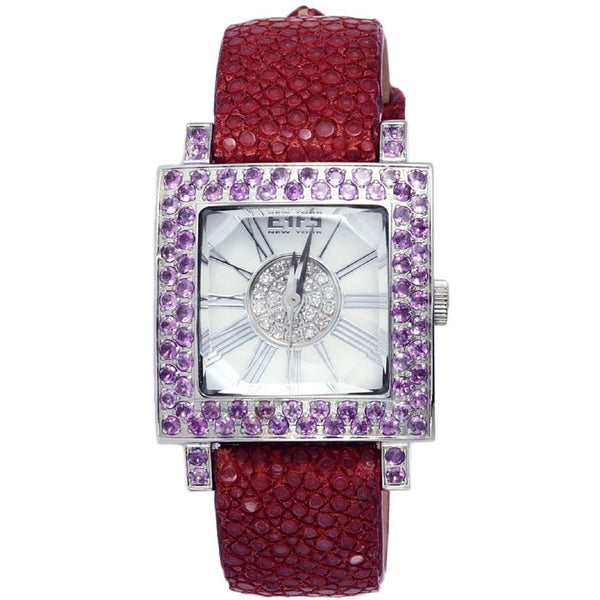 Effy Time Square Diamond & Amethyst Mother-of-Pearl Dial Unisex Watch