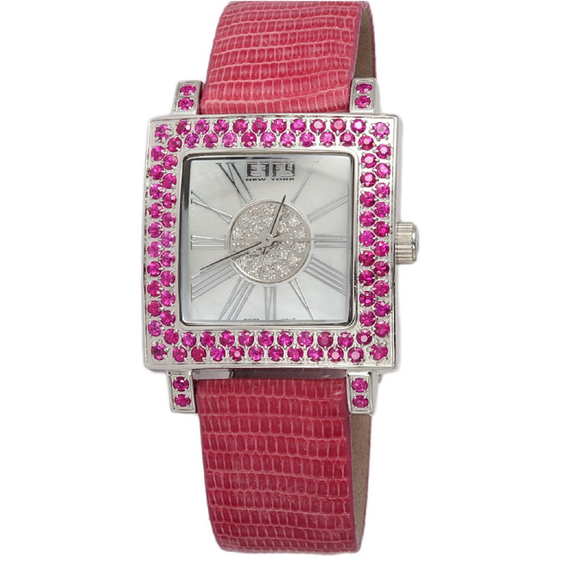 Effy Time Square 0.17 ct Diamond 3.10 ct Pink Sapphire Mother-of-Pearl Dial Ladies Watch
