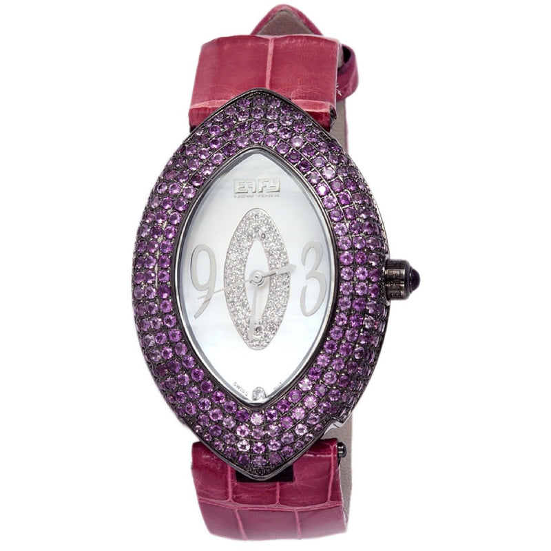 Effy Empire 0.18 ct Diamond & 4.37 ct Amethyst Mother-of-Pearl Dial Ladies Watch