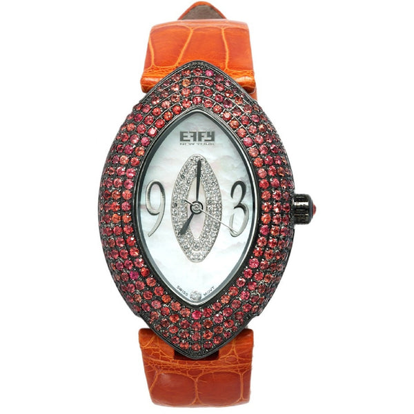 Effy Empire Diamonds & Orange Sapphire Mother-of-Pearl Dial Ladies Watch