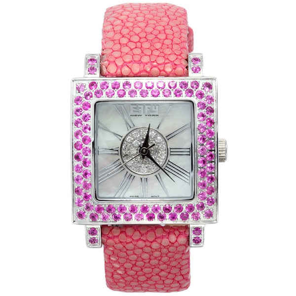 Effy Time Square 0.17 ct Diamond & 3.20 ct Sapphire Mother-of-Pearl Dial Ladies Watch