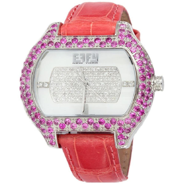 Effy So-Ho Diamond & Pink Sapphire Mother-of-Pearl Dial Unisex Watch