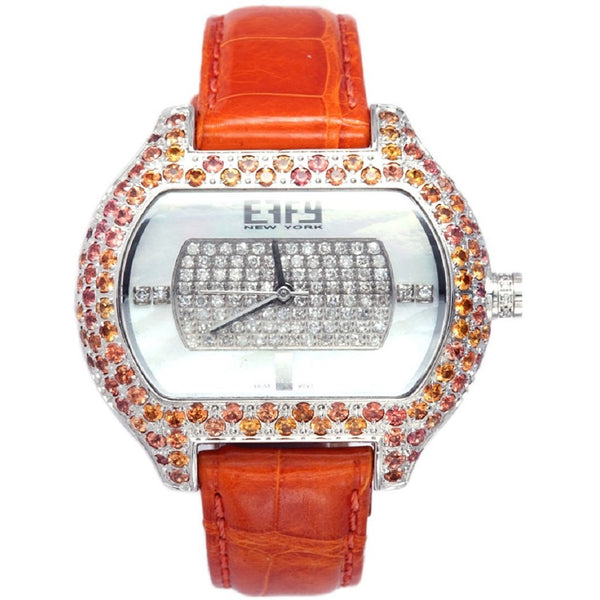 Effy So-Ho Diamond & Orange Sapphire Mother-of-Pearl Dial Unisex Watch