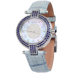 Effy Chrysler Diamond & Sapphire Mother-of-Pearl Dial Ladies Watch