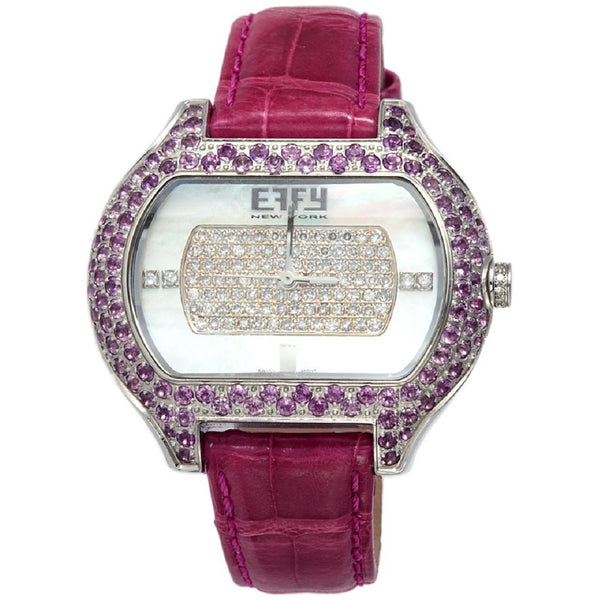 Effy So-Ho 0.78 ct Diamond & 3.13 ct Amethyst Mother-of-Pearl Dial Unisex Watch