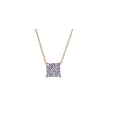 Yellow Gold Diamond Square Pendant