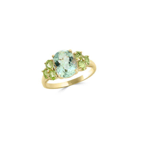 Yellow Gold Peridot & Green Amethyst Ring