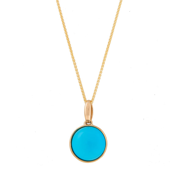 Yellow Gold Round Turquoise Pendant