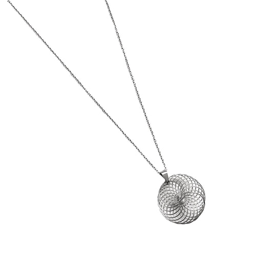 Stainless Steel Silver Swirl Necklace
