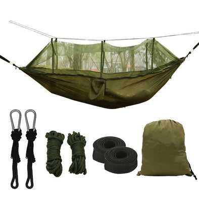 Portable High Strength Parachute Fabric Camping Hammock With Mosquito Net