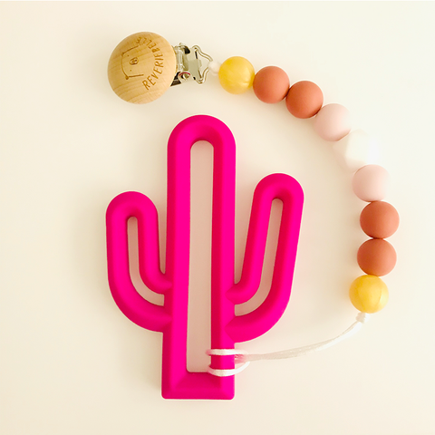 Teething Clip Set - Cactus (Fuschia)