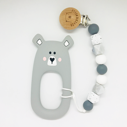 Teething Clip Set - Bear (Grey)