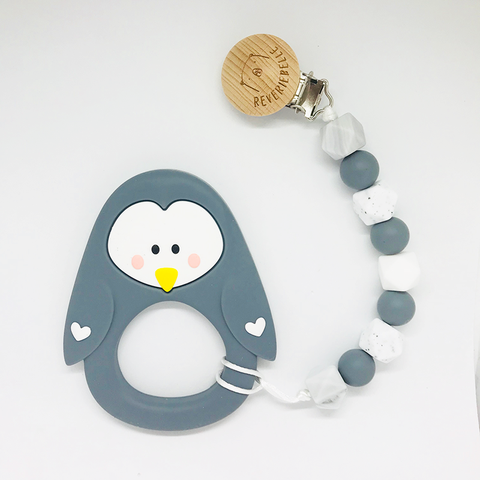 TEETHER  SET // PENGUIN - GREY