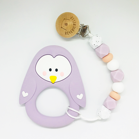 Teething Clip Set - Penguin (Lilac)