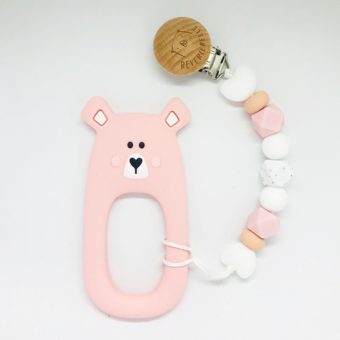 Teething Clip Set - Bear (Pink)